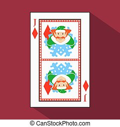 playing card. the icon picture is easy. DIAMONT JACK JOKER NEW YEAR ELF. CHRISTMAS SUBJECT. with white a basis substrate. vector illustration on red background. application appointment for website, press, t-shirt, fabric, interior, registration, design.TO PLAY POKER