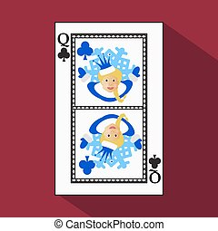 playing card. the icon picture is easy. CLUB QUEEN. NEW YEAR OF MISISS SANTA CLAUS GIRL. CHRISTMAS SUBJECT. with white a basis substrate. vector illustration on red background. application appointment for website, press, t-shirt, fabric, interior, registration, design.TO PLAY POKER
