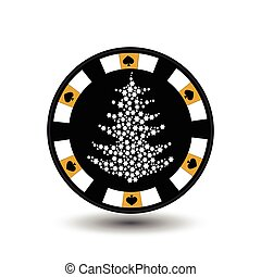 chip poker casino Christmas new year. In the middle of the tree made snowflakes yellow Icon vector illustration EPS 10 on white easy to separate the background. use for sites, design, decoration, printing, etc.