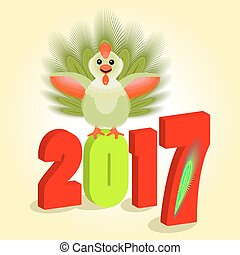 the symbol represents a cockerel with feathers  green, fluffy tail. two thousand seventeenth 2017 volume figures.  Christmas bird, chicken, rooster. To use for design, the press, t-shirts, the . vector illustration