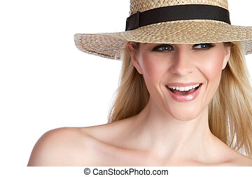 Woman Wearing Hat - Laughing blond woman wearing hat