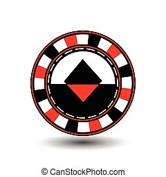 chips for poker red a suit diamond  black an icon on the white isolated background. illustration eps 10 vector. To use  the websites, design, the press, prints...