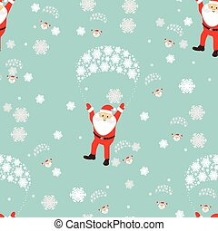 seamless pattern. New Year s Christmas holiday. many Santa Claus flies on a parachute with the girl of dignity and the elf. an illustration vector to use eps 10 for the press, design, the websites, registrations, undershirt, t-shirt, print...