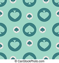 seamless pattern. EPS 10 vector illustration. used for printing, websites, design, interior, fabrics, etc. Poker Card theme shovels turquoise color on a green background