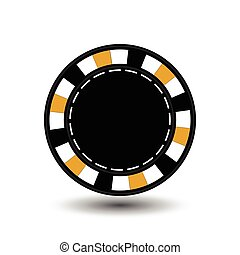 chips for poker yellow empty and a white dotted line the . an icon on the  isolated background. illustration eps 10 vector. To use  the websites, design, the press, prints...