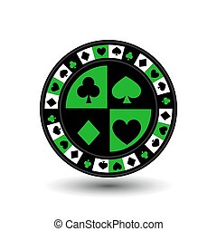 chips for poker green a suit an icon on the white isolated...