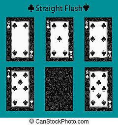straight flush playing card poker combination. vector illustration eps 10. On a green background. To use for design, registration, the websites, dressing, the press, etc.