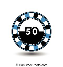 chips for poker blue a suit 50 figure and  white dotted line the . an icon on the  isolated background. illustration eps 10 vector. To use  the websites, design, the press, prints...