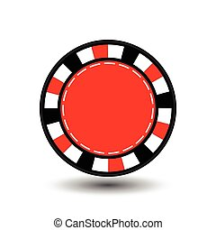 chips for poker red in the middle a round and white dotted line the . an icon on the  isolated background. illustration eps 10 vector. To use  the websites, design, the press, prints...