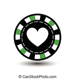 chips for poker green heart in the middle and a white dotted line the . an icon on the  isolated background. illustration eps 10 vector. To use   the websites, design, the press, prints...