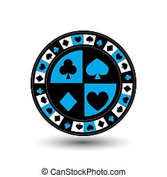 chips for poker blue a suit an icon on the white isolated...