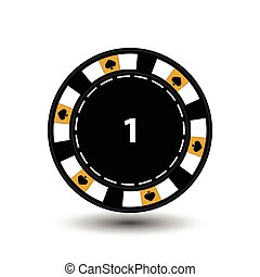 chips for poker yellow a suit spade and  white dotted line the . an icon on the  isolated background. illustration eps 10 vector. To use  the websites, design, the press, prints...