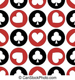 seamless pattern. EPS 10 vector illustration. used for printing, websites, design, decoration, interior, fabrics, etc. different multi-colored heart and club suit Poker among white, red, black.