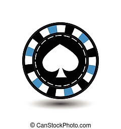 chips for poker blue spade in the middle and a white dotted line the . an icon on the  isolated background. illustration eps 10 vector. To use   the websites, design, the press, prints...