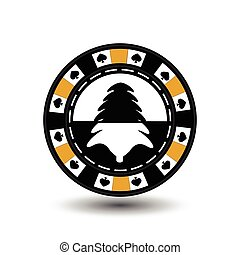 chip poker casino Christmas new year. In the middle of black and tree a yellow . Icon vector illustration EPS 10 on white easy to separate the background. use for sites, design, decoration, printing, etc.