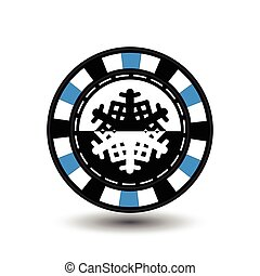 chip poker casino Christmas new year. In the middle of the black-and- snowflake blue . Icon vector illustration EPS 10 on white easy to separate the background. use for sites, design, decoration, printing, etc.