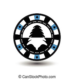 chip poker casino Christmas new year. In the middle of black and tree a blue . Icon vector illustration EPS 10 on white easy to separate the background. use for sites, design, decoration, printing, etc.