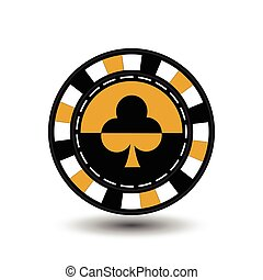 chips for poker yelloy a suit club  yellow black and white dotted line the . an icon on the  isolated background. illustration eps 10 vector. To use  the websites, design, the press, prints...