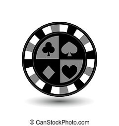 chips for poker grey a suit spade heart club diamond an icon on the white isolated background. illustration eps 10 vector. To use  the websites, design, the press, prints...