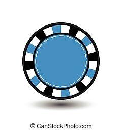 chips for poker blue in the middle a round and white dotted...