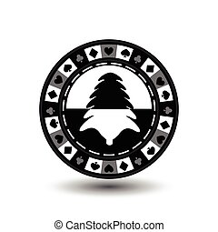 chip poker casino Christmas new year. In the middle of black and tree a gray . Icon vector illustration EPS 10 on white easy to separate the background. use for sites, design, decoration, printing, etc.