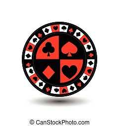 chips for poker red a suit an icon on the white isolated...