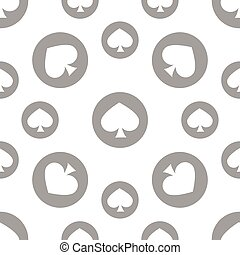seamless pattern. EPS 10 vector illustration. used for printing, websites, design, decoration, interior, fabrics, etc. monochrome spade suit among poker white and gray