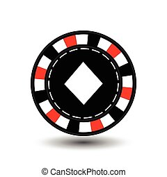 chips for poker red diamond in the middle and a white dotted line the . an icon on the  isolated background. illustration eps 10 vector. To use  the websites, design, the press, prints...