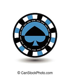 chips for poker blue a suit spade  black and white dotted line the . an icon on the  isolated background. illustration eps 10 vector.To use  the websites, design, the press, prints...