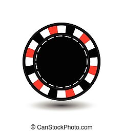 chips for poker red empty and a white dotted line the . an icon on the  isolated background. illustration eps 10 vector. To use  the websites, design, the press, prints...