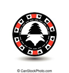 chip poker casino Christmas new year. In the middle of the black-and- tree red . Icon vector illustration EPS 10 on white easy to separate the background. use for sites, design, decoration, printing, etc.