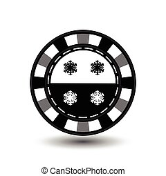 chip poker casino Christmas new year. In the middle of the black-and- snowflake a gray . Icon vector illustration EPS 10 on white easy to separate the background. use for sites, design, decoration, printing, etc.