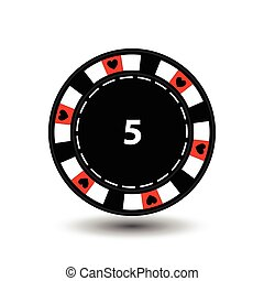 chips for poker red a suit heart and white dotted line the ....