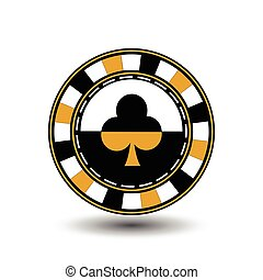 chips for pokery a yellow suit club yelloy black an icon on the white isolated background. illustration eps 10 vector. To use  the websites, design, the press, prints...