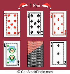 one pair playing card poker combination. vector illustration eps 10. On a red background. To use for design, registration, the websites, dressing, the press, etc.