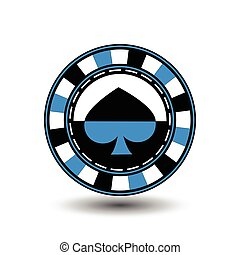 chips for poker bluea suit spade blue black an icon on the white isolated background. illustration eps 10 vector. To use  the websites, design, the press, prints...