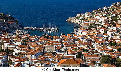 isola, egeo, idra, mare, grecia, vista