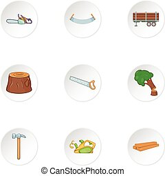 Cleaver icons set, cartoon style - Cleaver icons set....