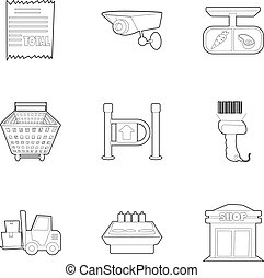 Store icons set, outline style - Store icons set. Outline...