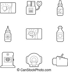 Medical examination icons set, outline style - Medical...