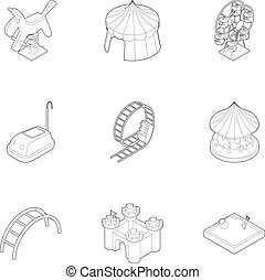 Baby swing icons set, outline style