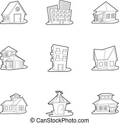 Building icons set, outline style