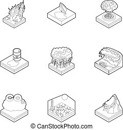 Natural catastrophe icons set, outline style - Natural...