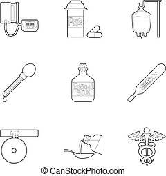 Medical icons set, outline style