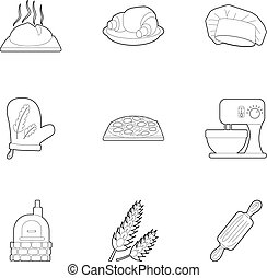 Patisserie icons set, outline style