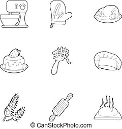 Bakery icons set, outline style