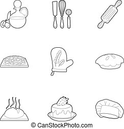 Pastries icons set, outline style