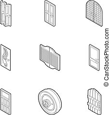 Door icons set, outline style - Door icons set. Outline...