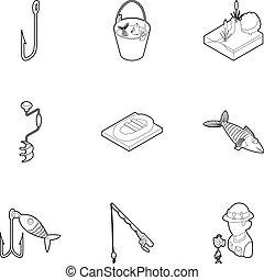 Fishing icons set, outline style - Fishing icons set....