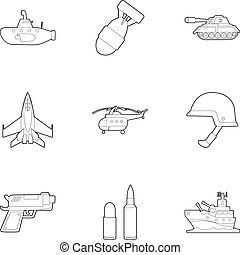 Weaponry icons set, outline style - Weaponry icons set....